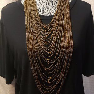 Bronze Multi Layer Long  Necklace